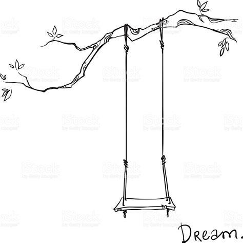 drawing of swing arbre avec un swing illustration vectorielle cliparts
