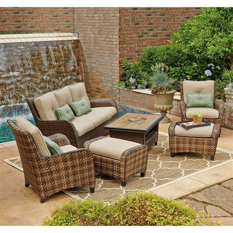 Patio Furniture Sectional Clearance Rattan Patio Set 6 Crunchymustard