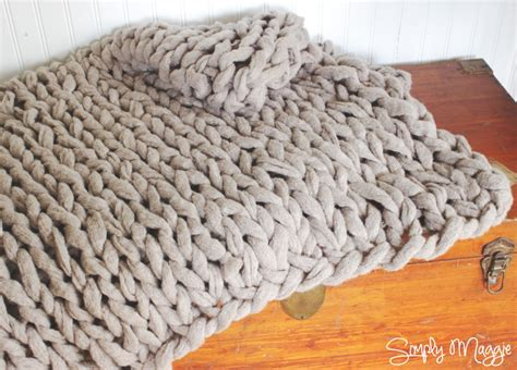 arm knit arm knit a blanket in 45 minutes by simply maggie
