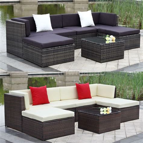 Patio Furniture - 9pcs wicker rattan sofa furniture set patio garden lawn
