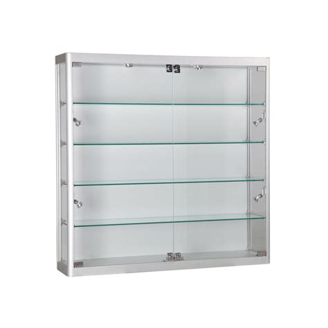 White Wall Mounted Display Cabinet With Glass Doors Square Wall Display Cabinets With Glass Doors