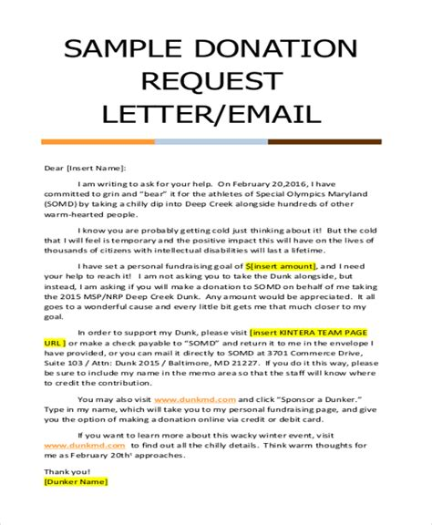 Fundraising Letter Doc Donation Letter Sle 9 Free Documents In Doc Pdf