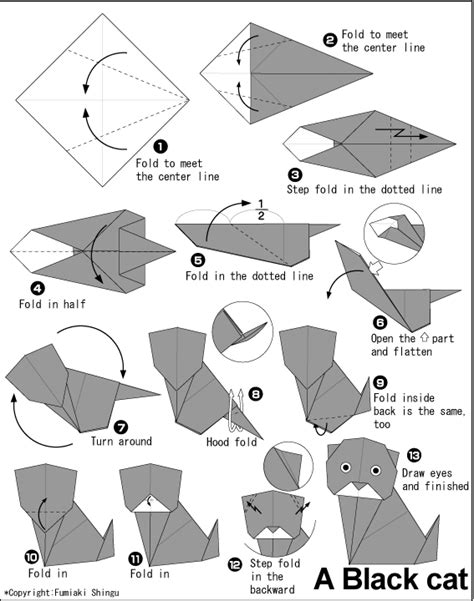 Paper Folding Cat - animals origami black cat paper origami guide