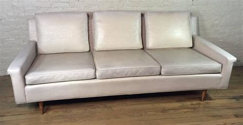 mid century modern vinyl sofa by milo baughman for thayer
