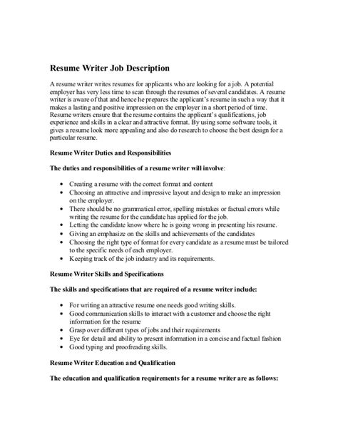 How To Write A Description For A Resume resume writer description