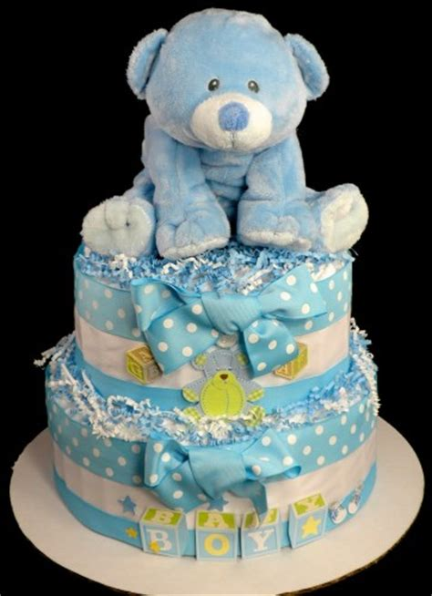 baby shower diaper cakes for boys girls babiesrus 2 tier baby bear diaper cake baby shower centerpiece gift