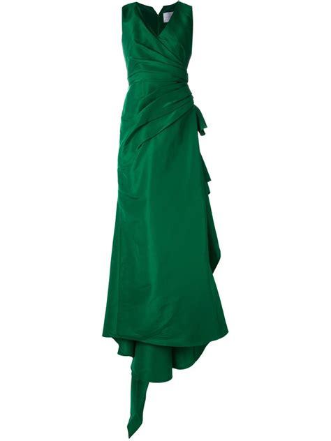 lyst carolina herrera draped evening dress  green