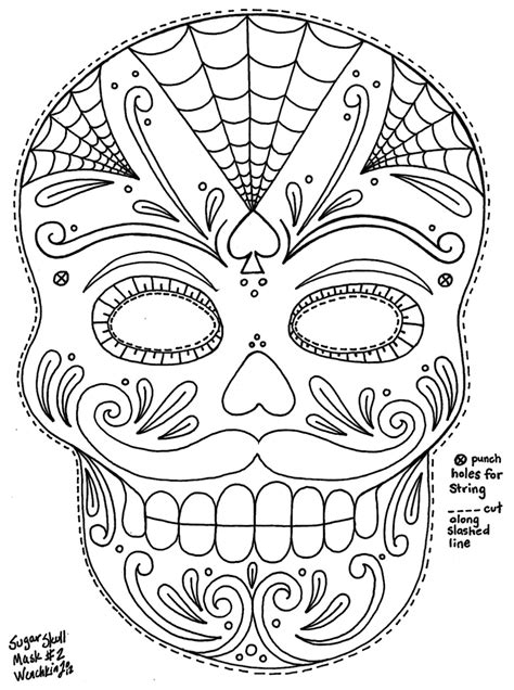 printable masks for day of the dead yucca flats n m wenchkin s coloring pages moustached