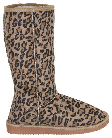 new womens faux suede fur lined leopard animal