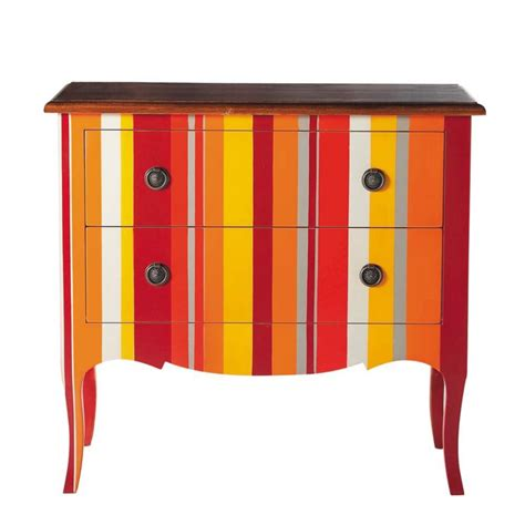 Striped Chest Of Drawers by Wooden Striped Chest Of Drawers Multicoloured W 90cm Sud