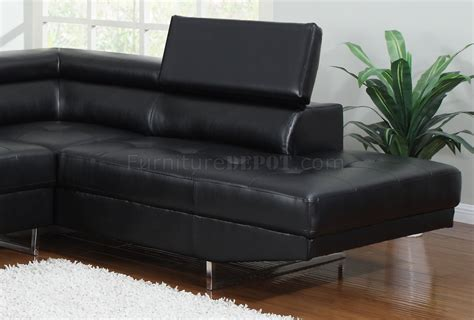 elegant leather sofas 4000 sectional sofa in black bonded leather by elegant home