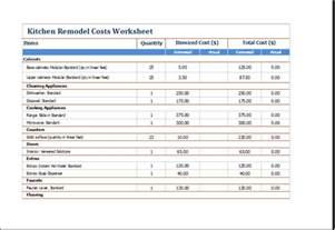 ms excel kitchen remodel costs calculator template excel