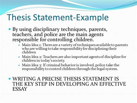 Thesis Statement For Essay by Thesis Statement Exles Ppt