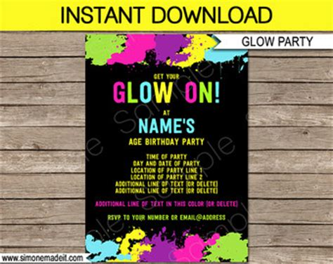 neon invitation template glow invitations etsy