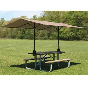 Table Canopy the clamp on picnic table canopy hammacher schlemmer