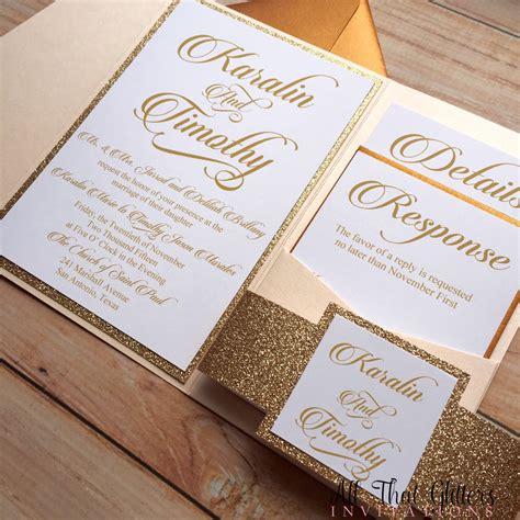 Wedding Invitations Gold by Glitter Wedding Invitation Gold Glitter By Atginvitations