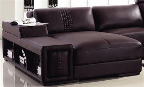 mini modern brown leather sectional sofa