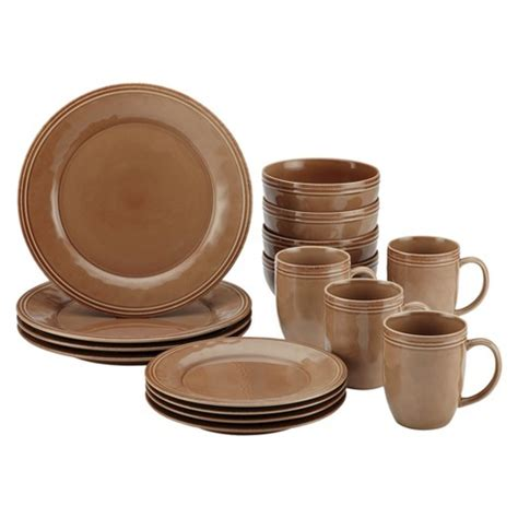 rachael cucina 16pc dinnerware set brown target