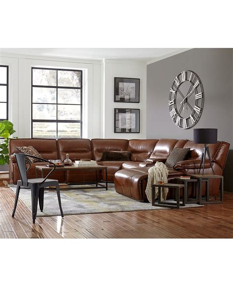 Macys Couches by Beckett Leather Power Reclining Sectional Collection