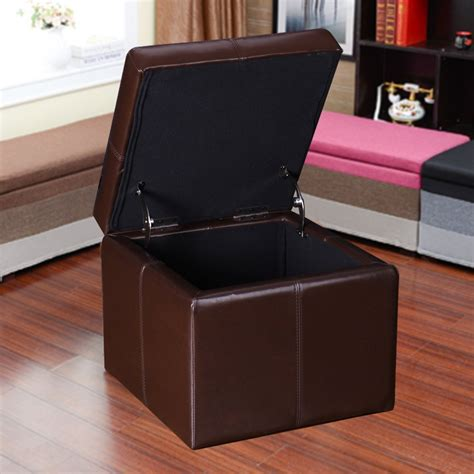 brown leather square ottoman adeco brown bonded leather contrast stitch square cube