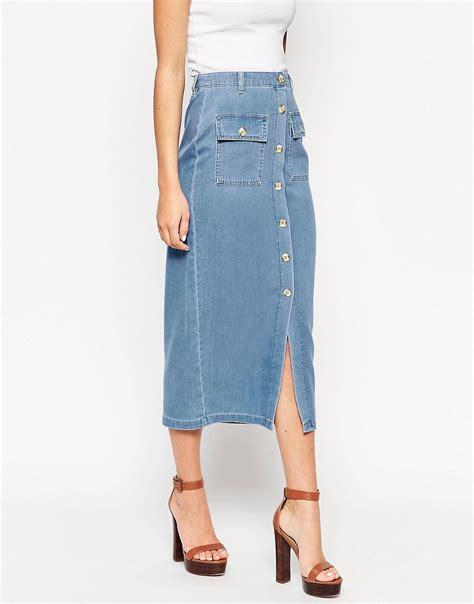 asos asos denim true midi skirt with patch pockets at asos