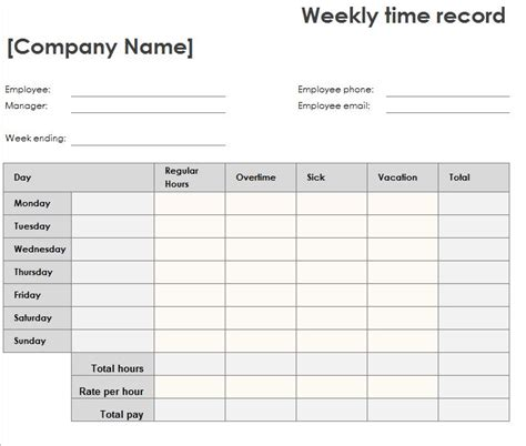 Weekly Time Sheet   My Excel Templates