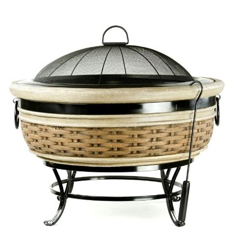 micro world magnesia rattan wicker fire pit mw1598