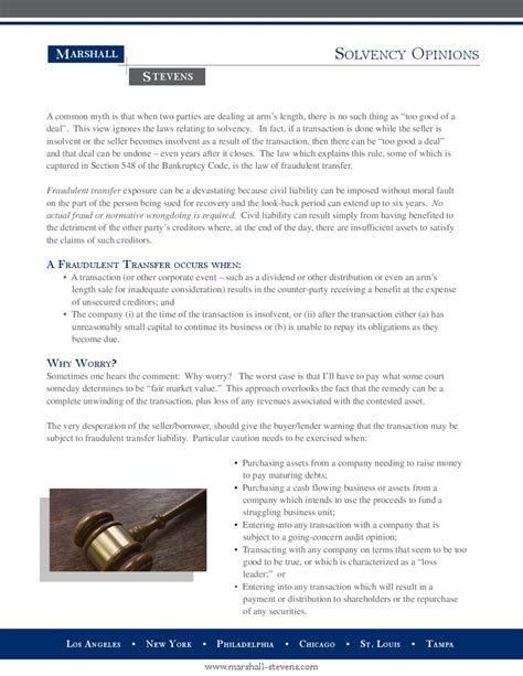 bankruptcy code section 548 solvency opinions by marshall stevens inc issuu