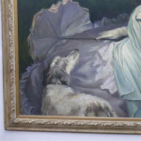 reclining woman  dog painting    hanford  stdibs