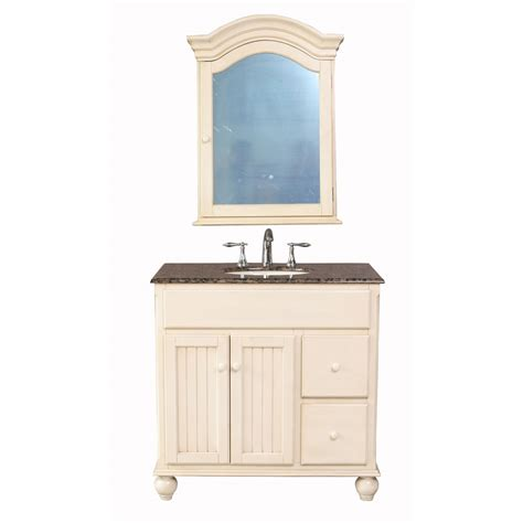 Granite Bathroom Vanity Stufurhome 36 Quot Snow White Single Sink Vanity With Baltic Brown Granite Top And Mirror White