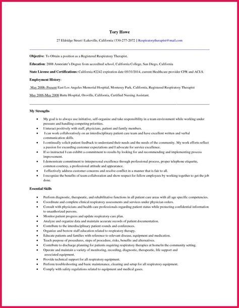 proper format for a resume sle respiratory therapist resume sop exles