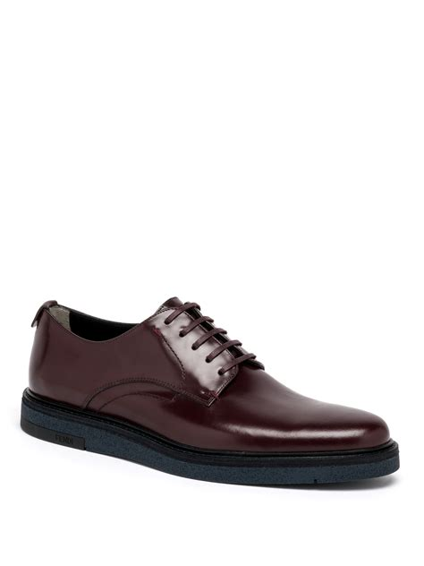 fendi shoes lyst fendi leather derby shoes in purple for