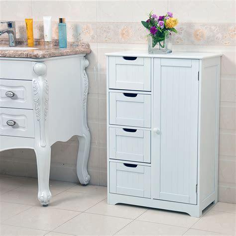 White Wooden Bathroom Storage White Wooden 4 Drawer Bathroom Storage Cupboard Cabinet Free Standing Unit Bath Ebay