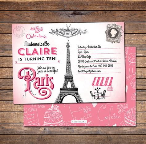 paris themed birthday invitations paris invitation paris birthday invitation paris party