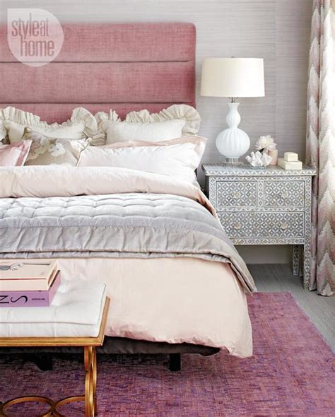 pink velvet headboard contemporary bedroom style at home