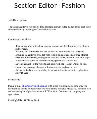 Design Editor Responsibilities | fashion editor job description sle 6 exles in