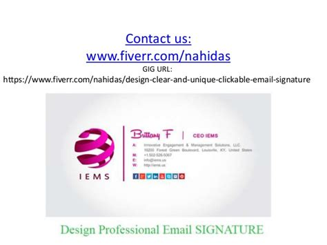 how to layout an email signature i will create clickable html email signature