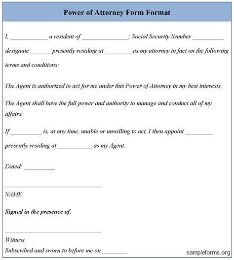 Free Power Of Attorney Template power of attorney form template sle power of attorney form template sle forms