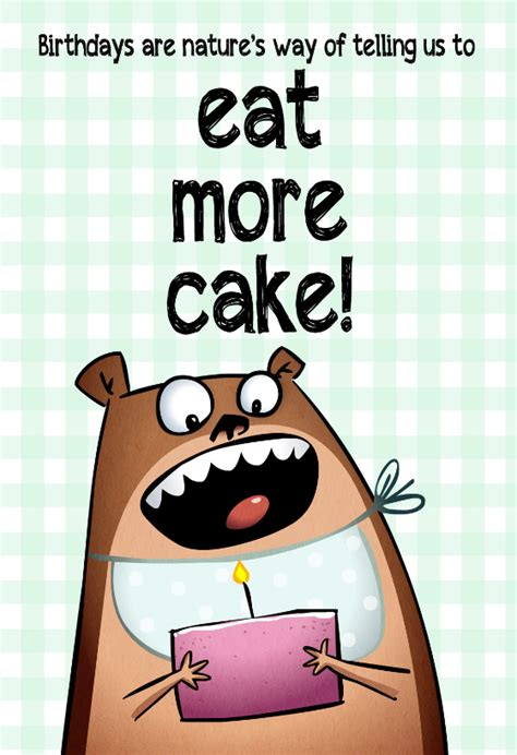 Eat More Cake Free  Ee  Birthday Ee   Card Greetings Island