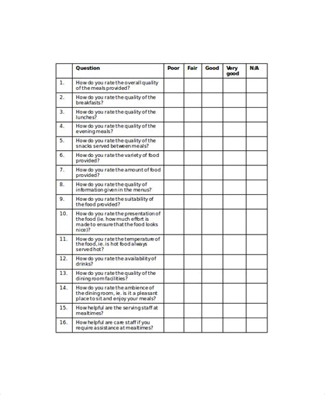 School Cafeteria Food Survey Food Food Service Survey Template
