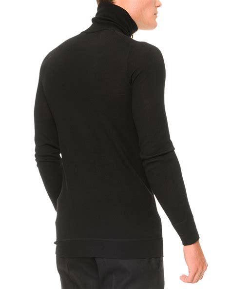 mcqueen zipper turtleneck sweater in black for
