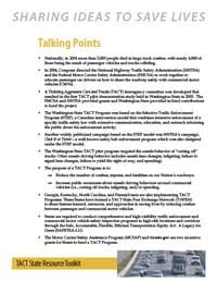 talking points template ticketing aggressive cars and trucks tact e toolkit