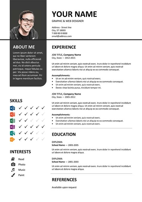 Resume Template Word Colour Bayview Stylish Resume Template