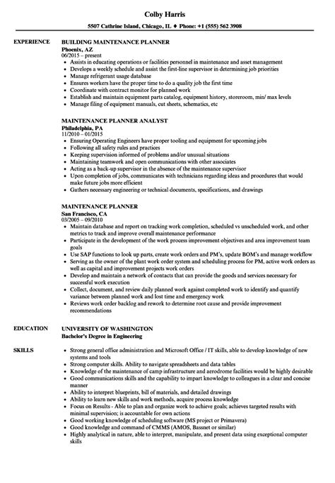 Maintenance Planner Resume Exles by Scheduler Resume Objective Eliolera Production