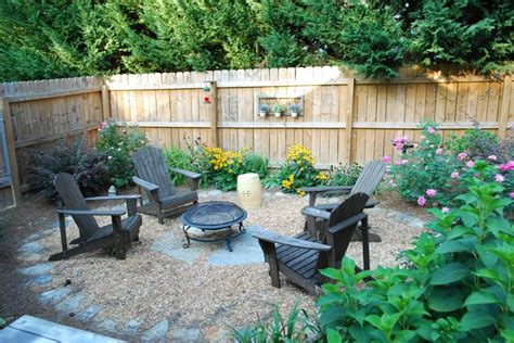 simple setup for pit in backyard porch and patio
