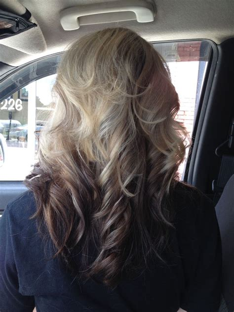 blonde top dark bottom hair blonde highlights on top dark brown ombre on bottom of