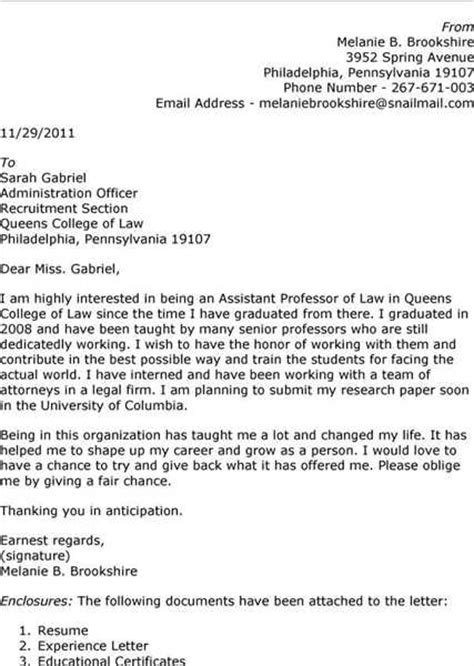 cover letter for assistant professor cover letter exles for assistant professor email
