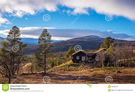 Blue Sky Cabins Lodge by Log Cabin In Autumn Stock Photo Image 45465471