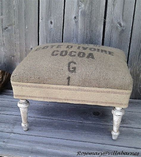 Small Ottoman Bench Burlap Footstool House Chic Pinterest Small Bench Burlap And Green Craft
