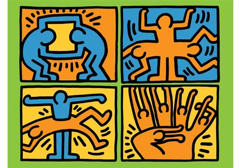 Modern Pc Desk by Keith Haring Vector Download Free Vector Art Stock
